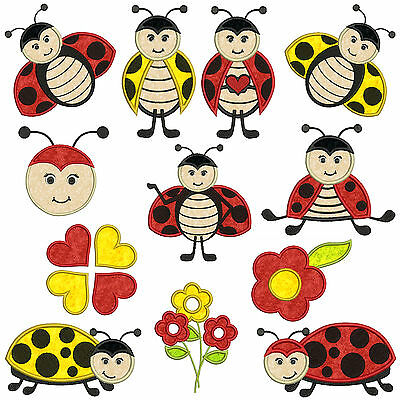 LADYBUGS 1  * Machine Applique Embroidery Patterns * 12 Designs, 2 Sizes