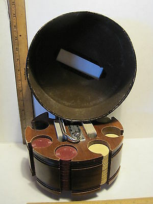 Vintage Poker Chip Caddy Cards Cover Revolving Wood Round Carousel Holder 8""