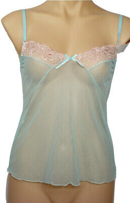 Aqua with Pink Embroidery Camisole Chemise | Size 10,12,14,16 | #248