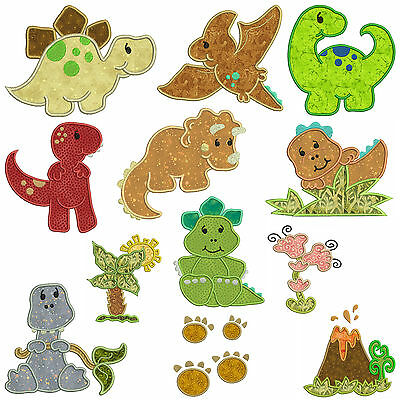 * DINOSAURS  * Machine Applique Embroidery Patterns * 12 Designs