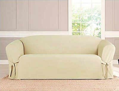 Micro Suede Slipcover, Furniture Protector Cover, 3 Sizes, Beige, Kashi Home