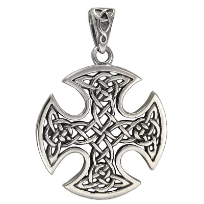 Sterling Silver Celtic Knot Cross Pendant - Knotwork Iron Cross Jewelry