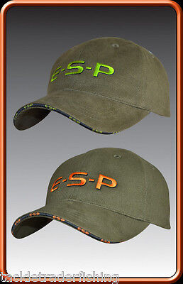 Esp Baseball Style Cap  In  Green With Orange Or Lime Green Logo - Fishing Wear