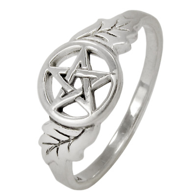 Sterling Silver Oak Tree Leaf Pentacle Ring - Wiccan Pagan Pentagram Jewelry