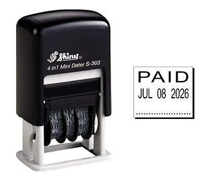 Shiny S303 Rubber Date Stamp (PAID) - Black Ink S-303