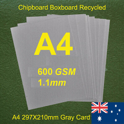 75 X A4 Chipboard Boxboard Cardboard Recycled Gray Cards 600gsm 1.1mm