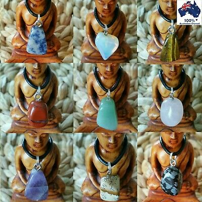 Crystal Healing Natural Gemstones Quartz Pendant Tumbled Stones Chakra Necklace