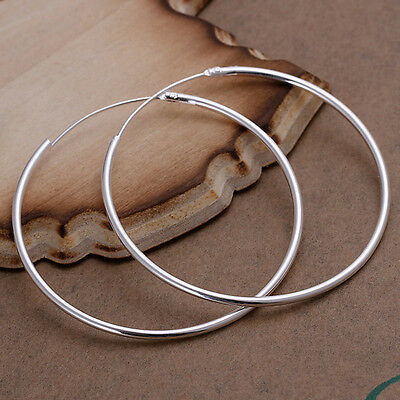 Fashion Lady Women 925 Sterling Silver Round Big Large Hoop Huggie Loop Earrings