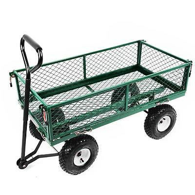NEW Heavy Duty Metal Green Garden Cart Barrow Utility Log Timber Trolley Cage
