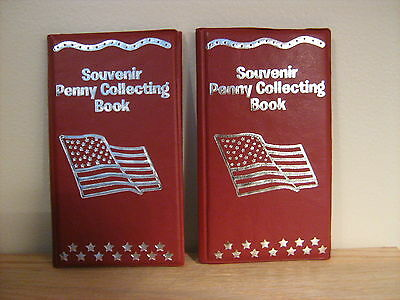 (2) Elongated Penny Souvenir Collector Books/Albums (Red) W/ TWO FREE PENNIES!