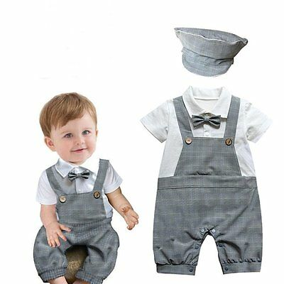 4e4a1b28cde Baby Boy Wedding Christening Formal Party Tuxedo Check Suit Outfit+Hat Set  3-18M