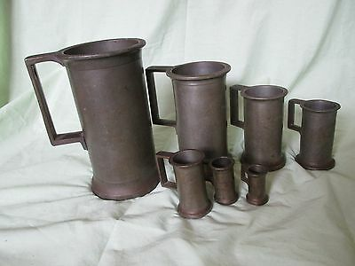 Vintage 7 Pewter Measuring Cup Mugs Set w/Handle Heavy Litre Liter Europe Metric