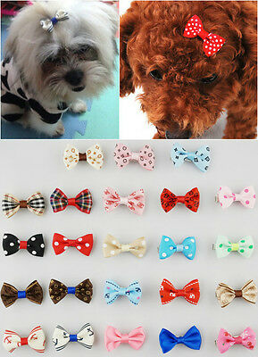 Wholesale 4-100pcs Pet Dog Cat Print Hair Bow Hair Clips Grooming Accessorie
