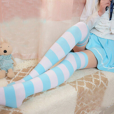Lolita Cotton Academ Over-Knee Thigh High Blue Striped Stocking Sock Cosplay