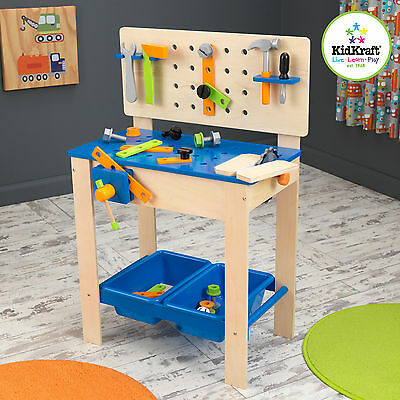 KidKraft Wooden Large Deluxe Workbench with Tools Set Pretend Play Toy 63329