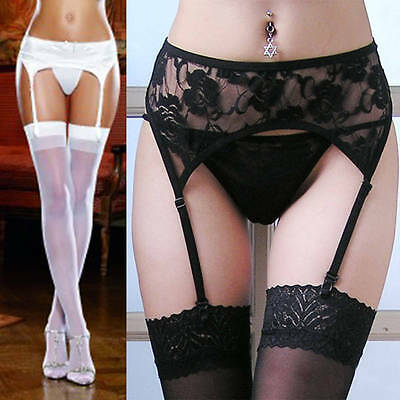 Women Leggings Thigh-Highs Lace Top Socks+Suspender Garter Belt Stockings