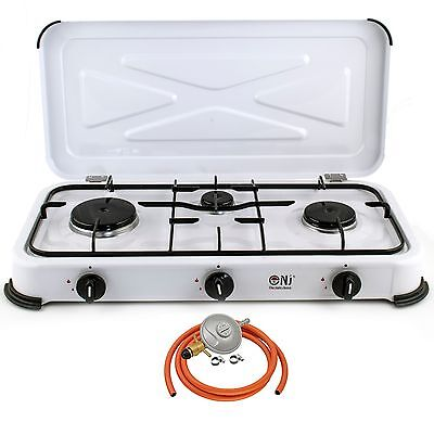NJ-03 Camping Gas Stove Portable 3 Burner Outdoor Cooker Lid Propane 4.25kW NEW