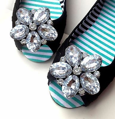 Acrylic Crystal Wedding Flower Bridal Silver Shoe Boots Clips Jewelry Pair