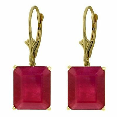 Genuine Ruby Emerald Cut Gems Leverback Earrings in 14K Yellow, White, Rose Gold