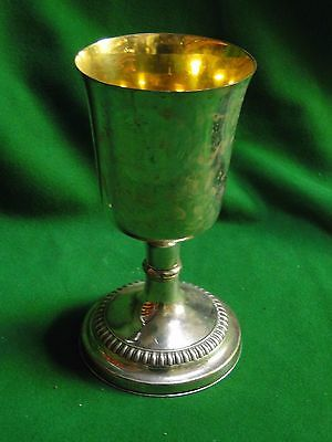 Silver Plated Church Challis, Gadroon Border, Marked On The Base Antique 1900