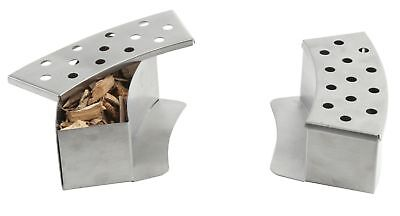 Callow Stainless Steel Curved BBQ Smoker Boxes for Gas Grill - Pack of two