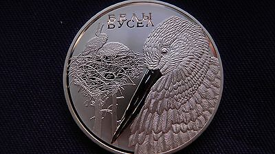 "2009 Belarus 20 Roubles ""White Stork"" Silver Proof Coin"