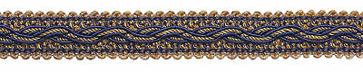 """Navy Taupe 7/8"""" Gimp Braid Trim Captains Pride [By The Yard]"""