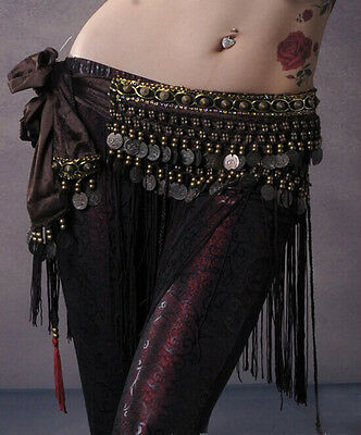 New Belly Dance Hip Scarf Tribal Fringe Tassel Belt&Copper Coins 3 Colours