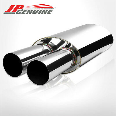 """3"""" Dual Flat Tip 3"""" Inlet Oval Bodied Exhaust Muffler Fit Universal"""