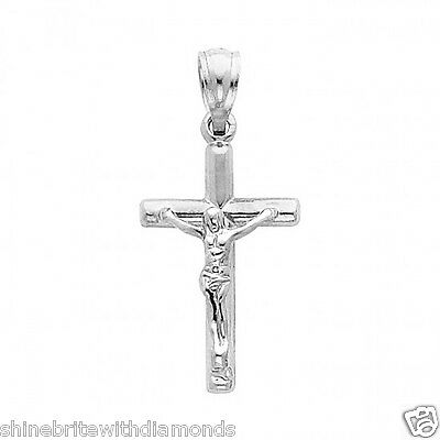 14k Solid White Gold Cross Jesus Crucifix Religious Charm Pendant Small