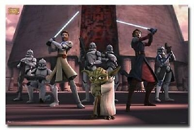 STAR WARS THE CLONE WARS JEDI GROUP POSTER 22x34 FACTORY SEALED FREE SHIPPING