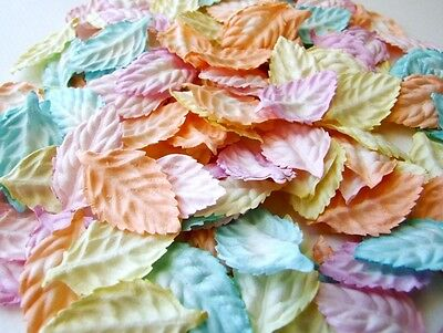 50 Mixed Pastel Mulberry Paper Leaves Scrapbook Craft Embellishment Wedding Card