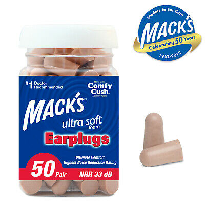 MACKS EAR PLUGS Safe Sound ULTRA SOFT Foam 50 Pair Jar NRR 32dB - FREE UK P&P