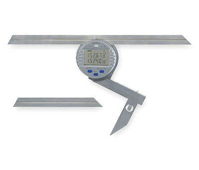 "Electronic Digital Protractor 6"" & 12"" +/- 5 Minutes 360 Range Stainless, Round"
