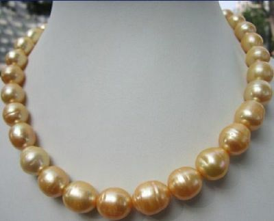 """NEW HOT SELL 12-15mm south sea baroque yellow pearl necklace 18"""" 14k Gold Clasp"""