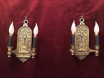 """Very Old Gorgeous Pair of Antique Ornate Brass wall sconces Stamped  """"H & B''"""