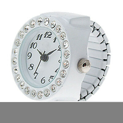 Practical Superior White Finger Ring Watch Chic White Rhinestone For Ladies LW
