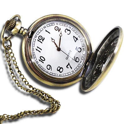 """VintageStyle Antique Pocket Watch with 31""""Chain in Antique Bronze Gold Finish LW"""