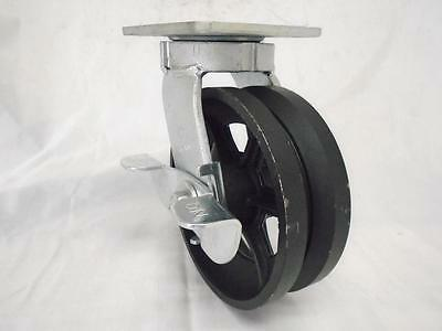 "6"" x 2"" Swivel Caster Kingpinless w/ Brake 7/8""V-Groove Iron Steel Wheel 1000lbs"