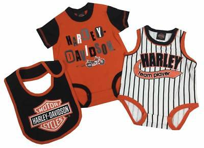 Harley-Davidson Baby Boys' 2 Pk Harley Creeper & Bib Set, Orange/Black 3052513