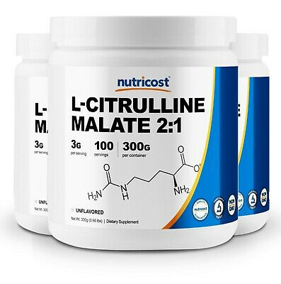 Pure L-Citrulline Malate (2:1) 300G (3 Pack) by Nutricost - 300 Servings