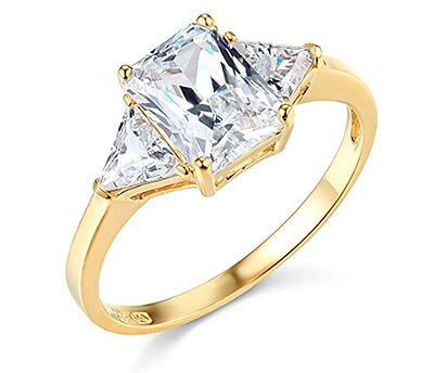2.75 Ct Emerald Trillion Cut Engagement Ring 3 Three Stone Solid 14K Yellow Gold