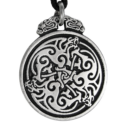 Pewter Triple Celtic Dragon Knot Pendant Jewelry - Irish Knotwork Necklace