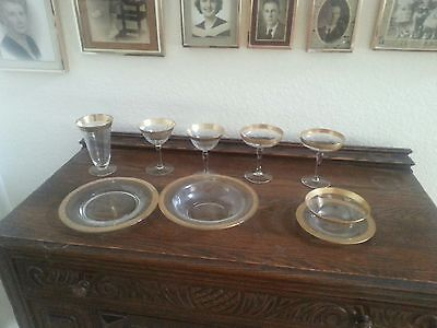 Antique Crystal Dish Set--1920's, with Gold Trim