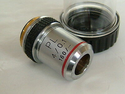 Cased unused DIN PLAN Microscope Objective - PL 4x/10x/40x/63x  ONE
