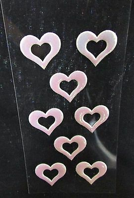 20 Stickers Puffy Hearts ~ Opal / Iridescent