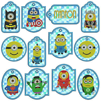 In-The-Hoop TAGS MINION Machine Applique Embroidery Patterns * 12, 2 sizes