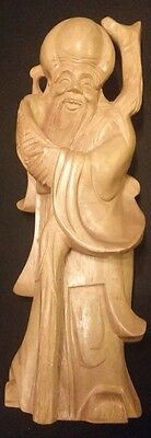 """Large Chinese Wood Carved Statue of SHOU LAO Immortal God of Longevity 12""""SIGNED"""