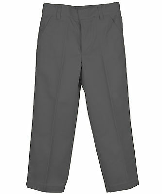 Boys Charcoal Gray Pants Genuine Flat Front School Uniforms Sizes 4 to 20