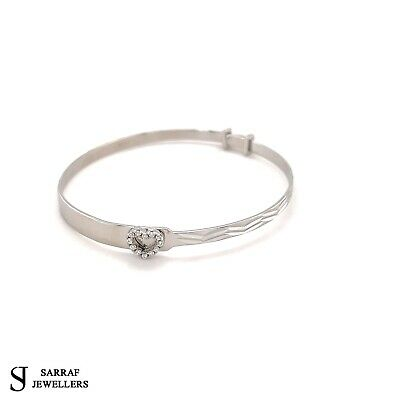 925 Sterling Silver Baby Child Engraved Christening Heart Expandable Bangle 5.5""